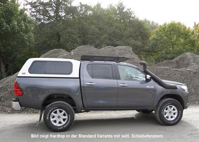 Commercial Hardtop für Toyota Hilux ab 15 Doka flach seitl. Aluklappen