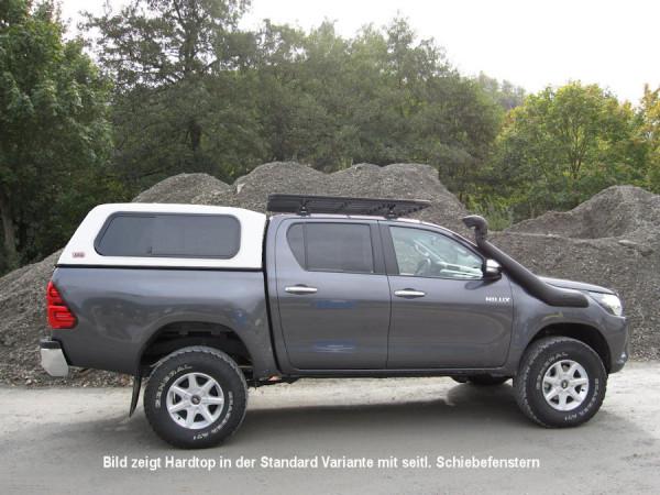 Touring Hardtop für Toyota Hilux ab15 Doka flach, glatt, seitl. Klappfenster
